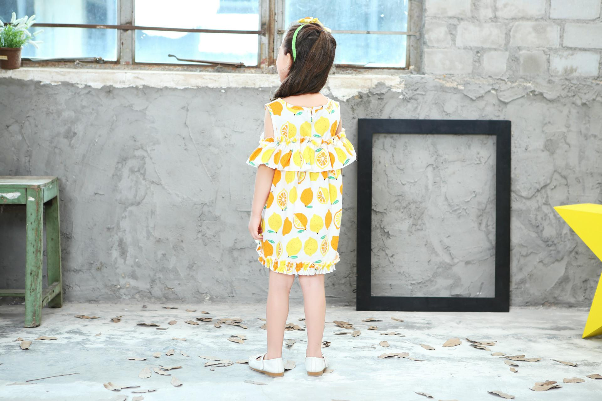 Lemon Printd Girls Dress 2018 New Summer Fashion Children Princess Dress Kids Children Clothes For 2 3 4 5 6 7 8 Years 8