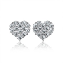 Best selling new style 925 sterling silver jewelry classic heart-shaped earrings sparkling zircon sweet romantic girl earrings
