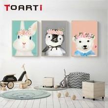 Cartoon Vivid Animals Pig Rabbit Penguin Wall Art Murals Poster&Prints Canvas Painting For Kids Bedroom Picture Home Decor