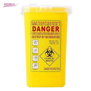 Image 1 - 1PC קעקוע רפואי קיבולת פלסטיק חד מיכל Biohazard מחט Disposale פסולת תיבת אחסון קעקוע ציוד אבזרים
