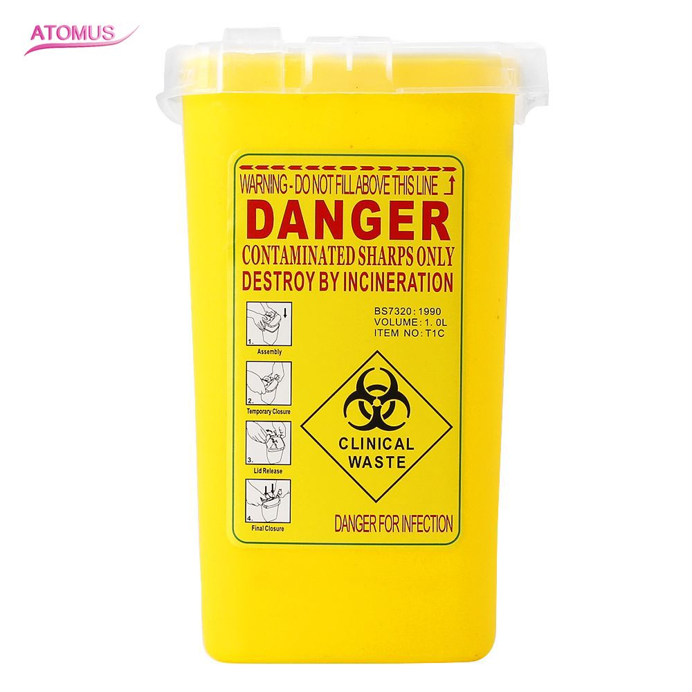 1PCS Yellow Tattoo Medical Plastic Sharps Container Biohazard Needle Disposal 1L Size Waste Box for Infectious Waste Box Storage