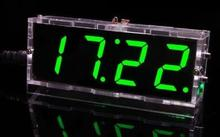 Цифровые Часы DIY Kit Компактный 4-значный DIY СВЕТОДИОДНЫЕ Часы Аксессуары Свет Контроль Температуры Доска Дата Время с Прозрачным Корпусом