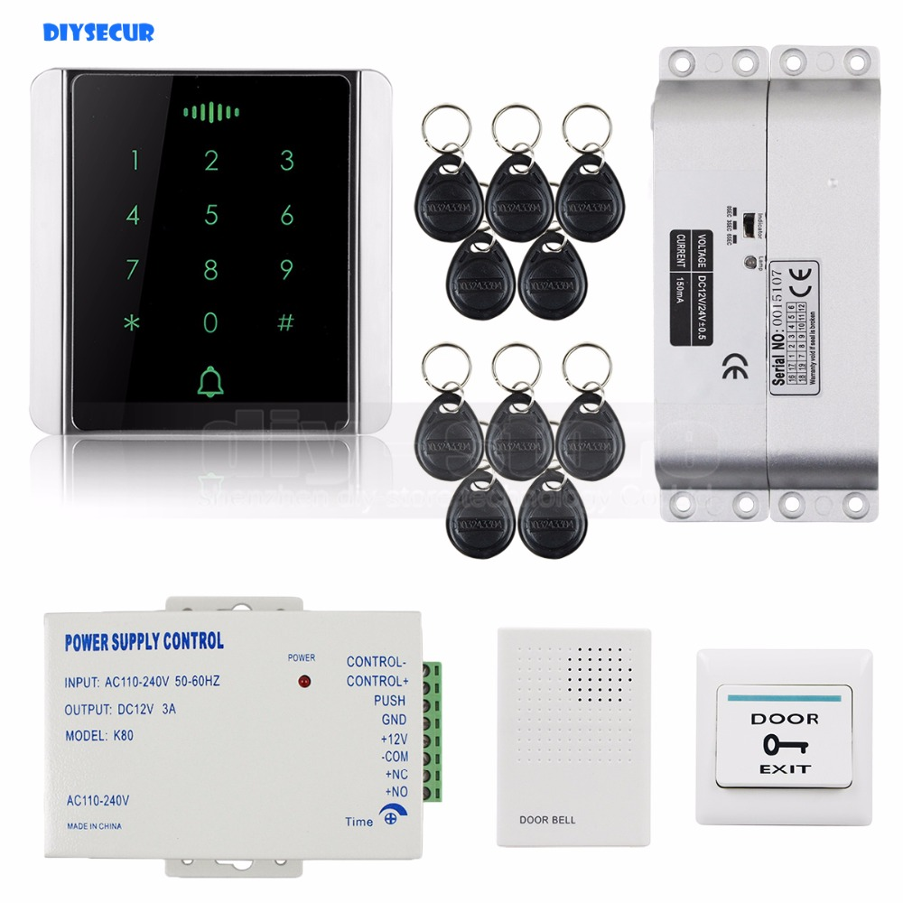 DIYSECUR 125KHz RFID Reader Password Keypad + Electric Mortise Lock Access Control System Security Kit diysecur magnetic lock door lock 125khz rfid password keypad access control system security kit for home office