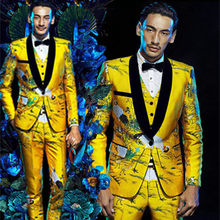 79a60a7b762 Fashion Brand Men Suits Gold Floral Male Blazers Slim Fit Groom Wedding  Prom Singer Stage Business Male Tuxedo Jacket+Pants+Vest