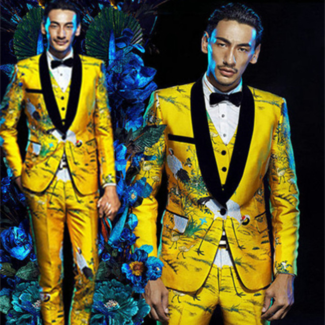 Fashion Brand Men Suits Gold Floral Male Blazers Slim Fit Groom Wedding Prom Singer Stage Business Male Tuxedo Jacket+Pants+Vest