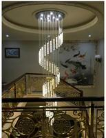 Stairs Lights Lamp Long Pendant Light Bubble Crystal Column Living Room LED Villa Spiral Turn Fishing