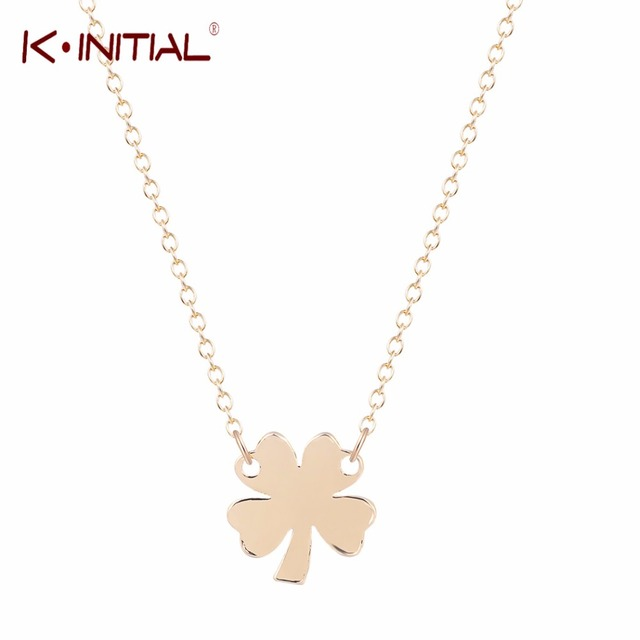 Kinitial 1pcs modern stylish four leaf clover pendant necklace woman kinitial 1pcs modern stylish four leaf clover pendant necklace woman jewelry for valentine day gold silver aloadofball Image collections