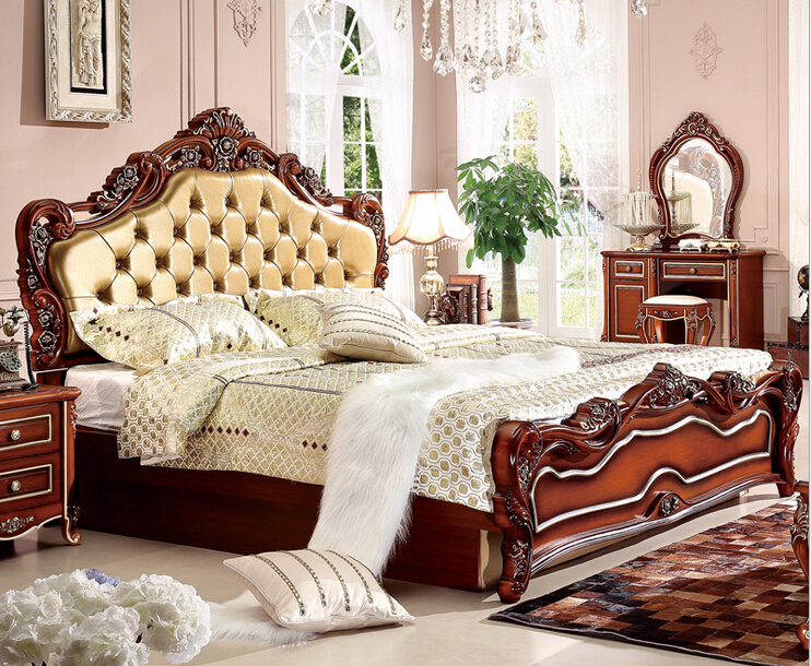 Elegant High Quality Classical Leather Bed. Type: Bedroom Furniture .