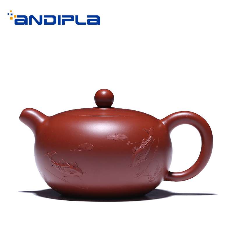 200 мл аутентичный китайский чайник для заварки чая Фиолетовый Глиняный заварочный чайник скульптура Рыбы Узор Dahongpao грязь горшок Zisha офис