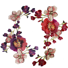 Large applique flowers embroidery patches 60*25cm Sew on embroidered parches appliques for clothing parches para la ropa 1pc landscape embroidered patches for clothing sew on tree embroidery parches for backpack clothing applique decoration badge
