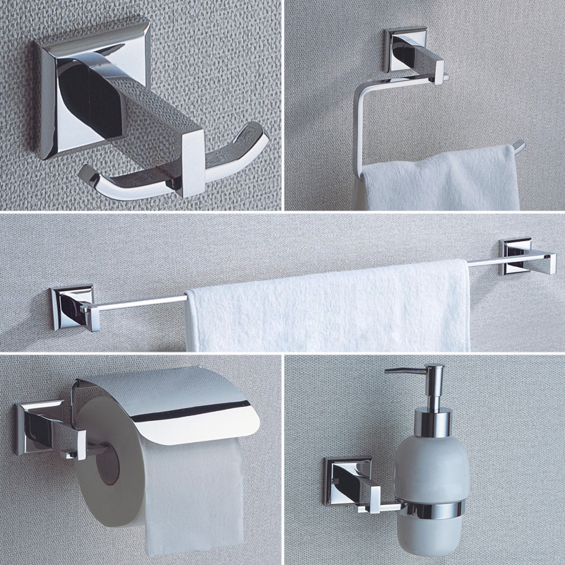 Chrome Bathroom Hardware Sets Wall Mounted Brass Soap Pump Coat Hooks Toilet Paper Holder Towel Bar Towel Rings 5 Pcs Lot