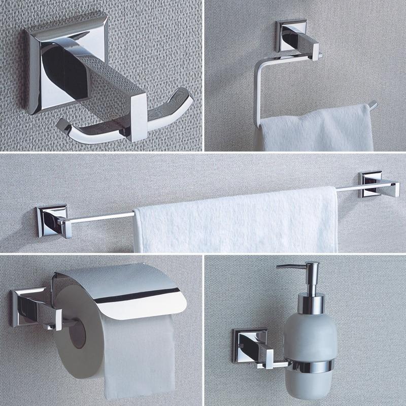 Chrome Bathroom Hardware Sets Wall Mounted Brass Soap Pump Coat Hooks Toilet Paper Holder