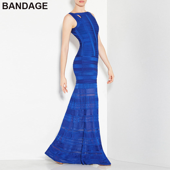 leger HL Women Long Dress Evening Gown Prom Formal Outfits 2019 New Arrive O Neck Sleeveless Party Rayon Blue Bandage Maxi Dress