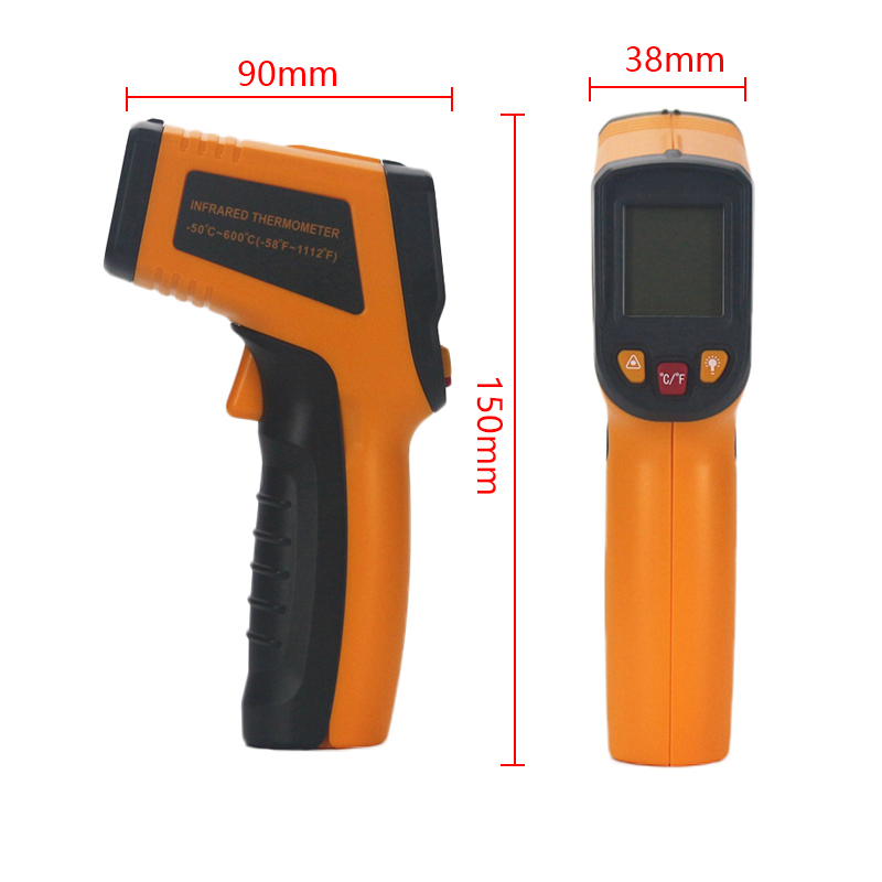 HTB16jMkcAfb uJjSsD4q6yqiFXa9 Handheld Non-contact IR Infrared Thermometer Digital LCD Laser Pyrometer Surface Temperature Meter Imager C F Backlight -50~600C