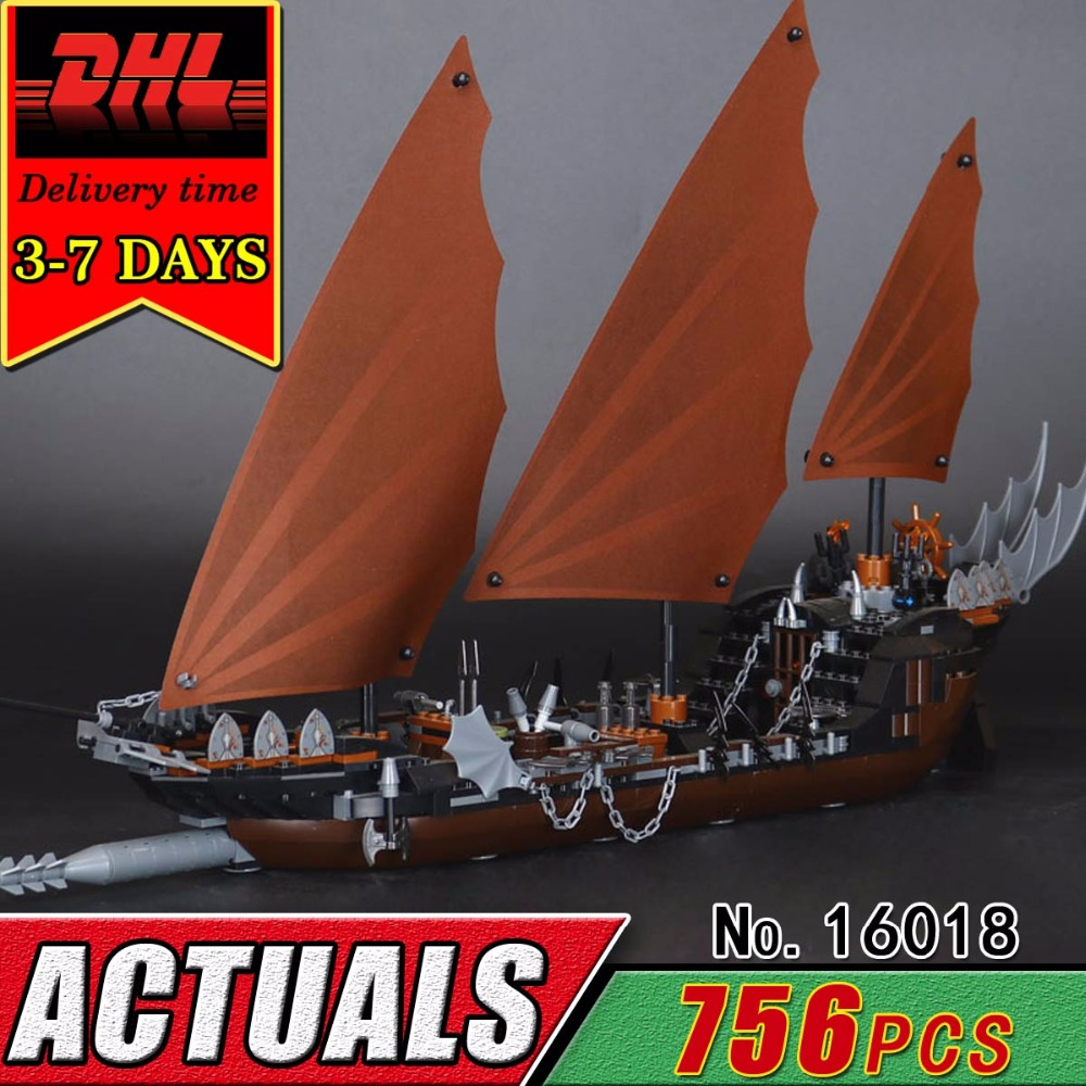 DHL LEPIN 16018 The Ghost Pirate Ship Building Blocks Compatible Bricks Lord Of Rings Series Military War Toy For Children Kid laying the ghost