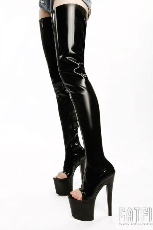 Latex high heel boots