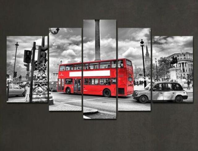 5 Панель современный городской автобус стены Книги по искусству мировой живописи Географические карты холст картины для Гостиная Домашний Декор Картина модульная картина