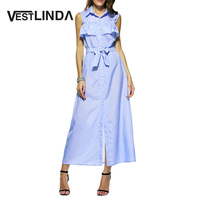 Elegant Blue Female Long Dress Cotton Vestidos Turn Down Collar Lotus Striped Women Maxi Dress Sleeveless