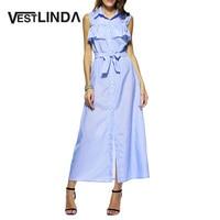 Elegant Blue Female Long Dress Cotton Vestidos Turn Down Collar Lotus Striped Women Maxi Dress Sleeveless