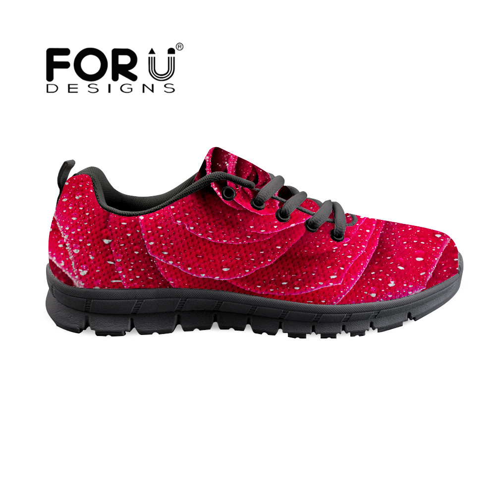 FORUDESIGNS Rose Floral Print Woman Summer Flats Shoes Lace Up Ladies Casual Shoes Footwear Walking Shoes chaussure homme Pink forudesigns fashion women flat shoes female teens girls floral print casual flats breathable walking shoes for woman plus size