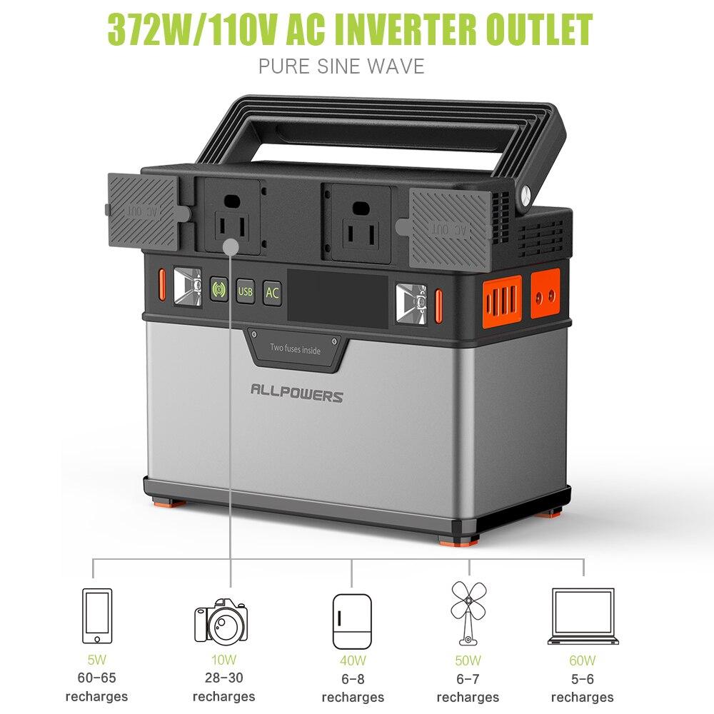 ALLPOWERS 110V ~ 230V Power Bank Pure Sine Wave generador portátil de energía Estación de alimentación coche refrigerador TV Drone teléfonos portátiles. - 2