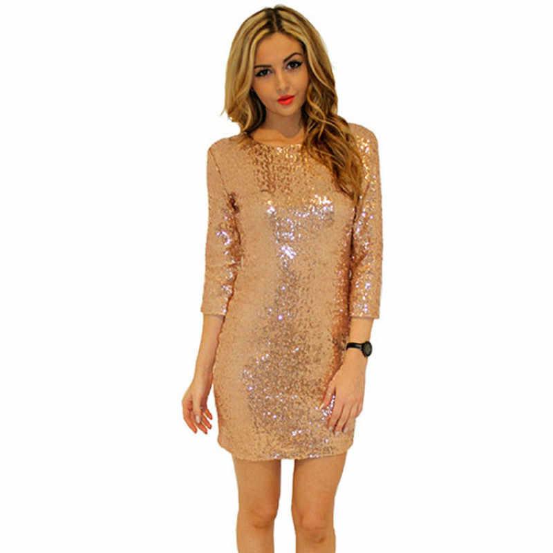 2016 Новый летний женский Стиль, платье с o-образным вырезом с длинным рукавом, Блестящее платье с открытой спиной, облегающее тонкое платье карандаш, модные платья