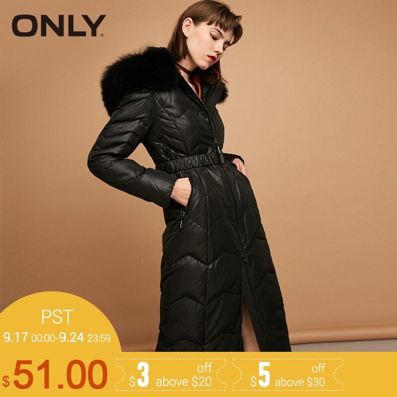 ONLY 2018 Новинка женский пуховик с пуха 70% мех натуральный лизы в капюшоне пояс съёмный длинное пальто женская куртка 117312502