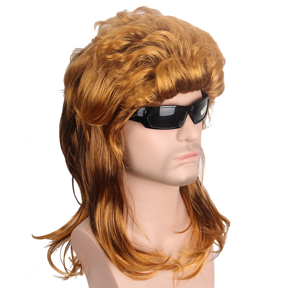 Anxin Short Wigs Gold Hair Synthetic Wigs Natural Wave Dark Brown Wig for Men USA Punk Hairstyle Fashion Popular Singer Toupee
