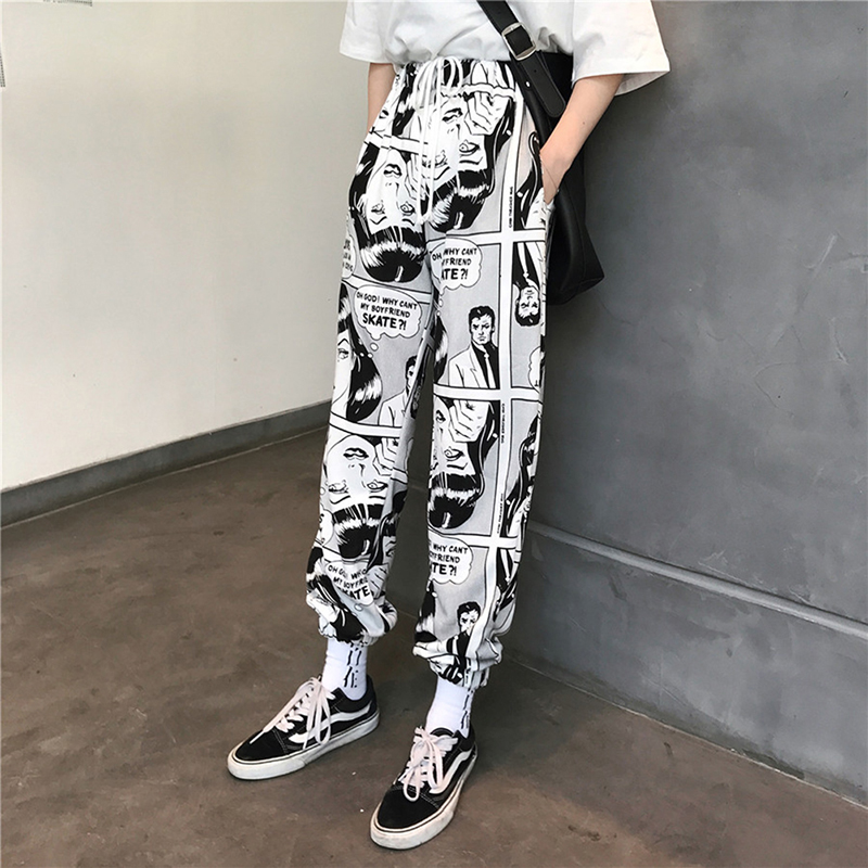 Women Loose Sports Casual Pants Beam Foot Harem Pants Comics Printed Joggers Pants Hip Hop Casual Trousers