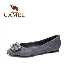 Camel Women's Pointed Toe Shallow Crystal Snow Buckle Pumps