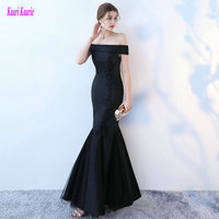 Unique Black Prom Dresses Long 2017 New Sexy Red Mermaid Evening Gowns Boat Neck Satin Lace