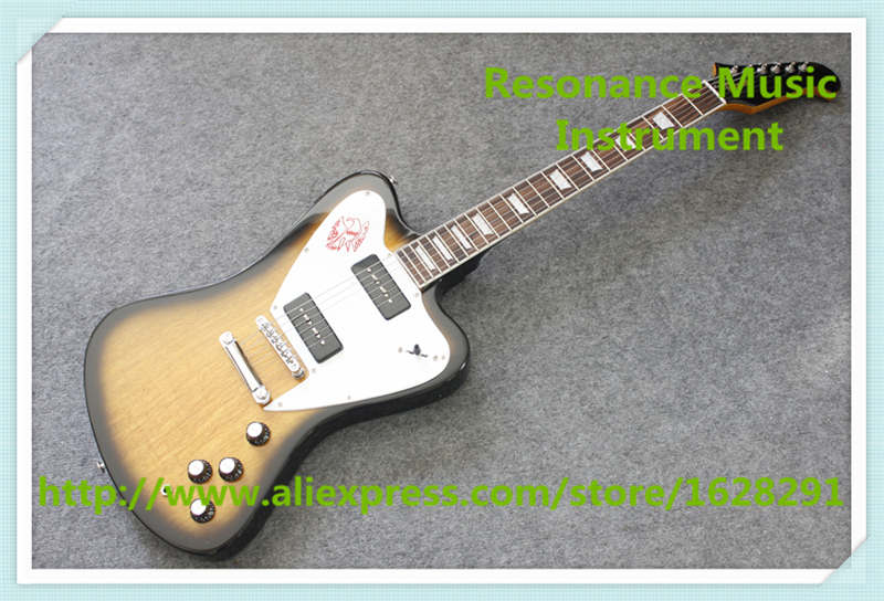 China Custom Shop Vintage Sunburst Finish Firebird Electric Guitars With Chrome Hardware For Sale china custom shop transparant grey finish lp electric guitars with mahogany solid body for sale