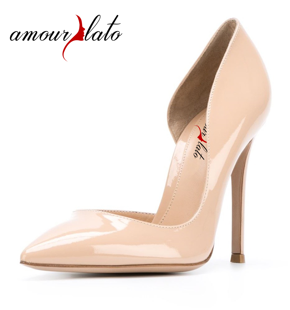 Amourplato Women's Pointed Toe Stiletto Heel D'Orsay Pumps Two-pieces Cut Out Party Wedding Dress Shoes Multi-Colored