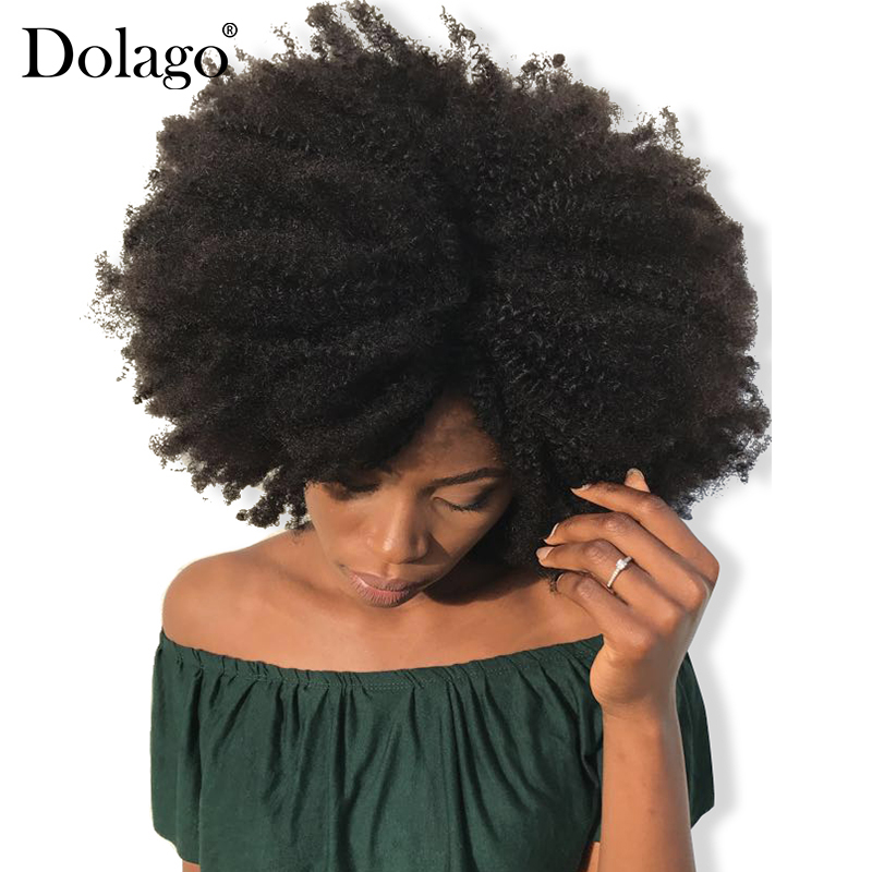 4B 4C Afro Kinky Curly Clip In Human Hair Extensions Brazilian Remy Hair 100% Human Natural Hair Clip Ins Bundle Dolago