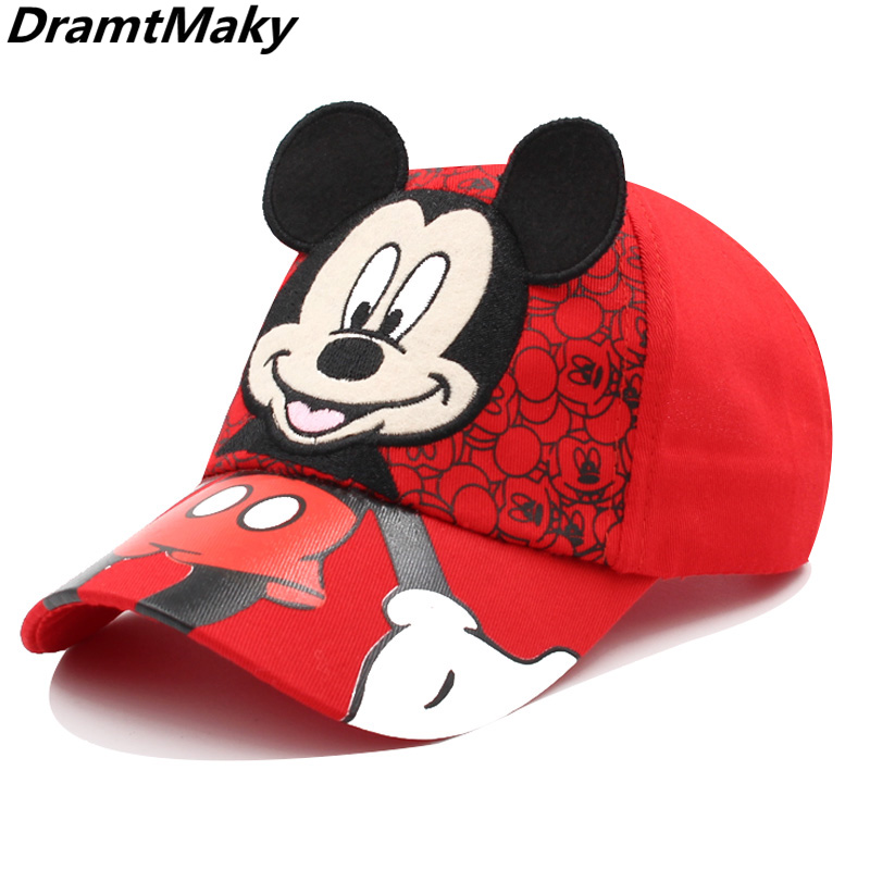 New Anime Mickey Kids Cap Cartoon Baby Embroidery Cotton Children's Baseball Caps For Boy Girl Hip Hop Hat Snapback Summer Cap