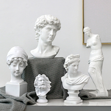 лучшая цена Nordic Resin Sketch Head Statue non-gypsum Bust Mini classic David Figurines Miniatures sculpture Ornaments Drop Shipping