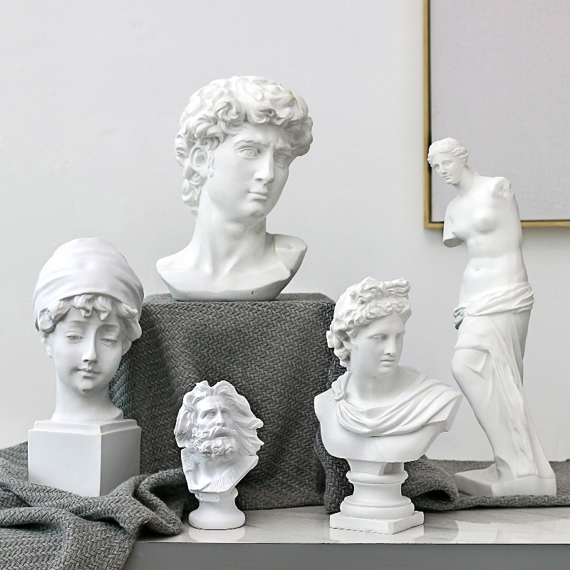 Nordic Resin Sketch Head Statue non-gypsum Bust Mini classic David Figurines Miniatures sculpture Ornaments