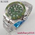 Платье 40 мм Bliger зеленый циферблат светящиеся стрелки сталь сапфировое стекло АВТО ДАТА GMT Automaic Move Мужские механические наручные часы t
