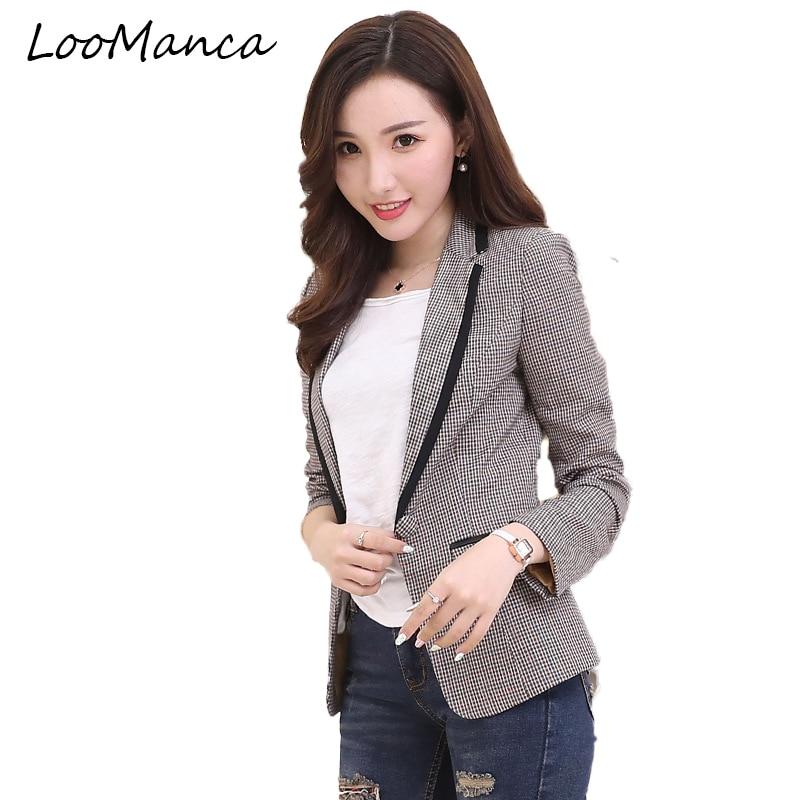 Spring Autumn Women Blazers And Jackets 2018 New Fashion Plaid Long Sleeve Suit Coat Female ...