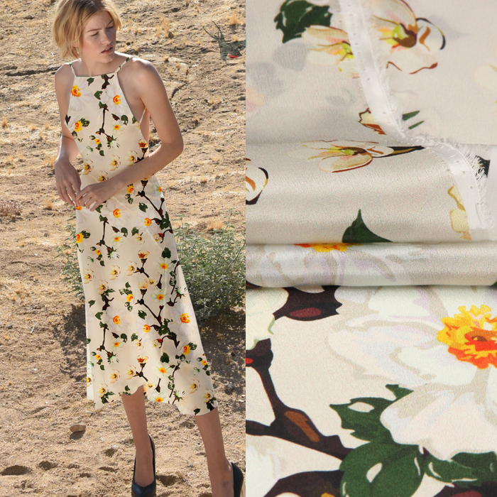 135CM Wide 12MM Small Yellow Floral Print Thin Silk Crepe de Chine Fabric for Summer Dress Shirt Clothes Cheongsam D882