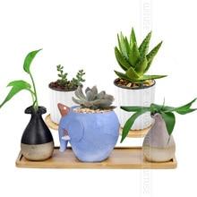 WITUSE 2Pcs Bamboo Home Mini World Garden Decoration Pot Trays Miniature Figurines Flowerpot Plate DIY Accessories Ornaments