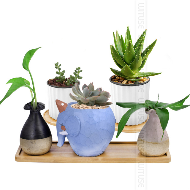 WITUSE 2Pcs Bamboo Home Mini World Garden Decoration Pot Trays Miniature Figurines Flowerpot Plate DIY Accessories Ornaments