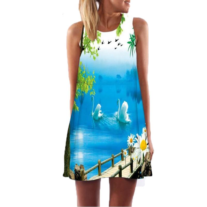 2018 Summer Dress Women Floral Print Chiffon Dress Sleeveless Boho Style Short Beach Dress ...