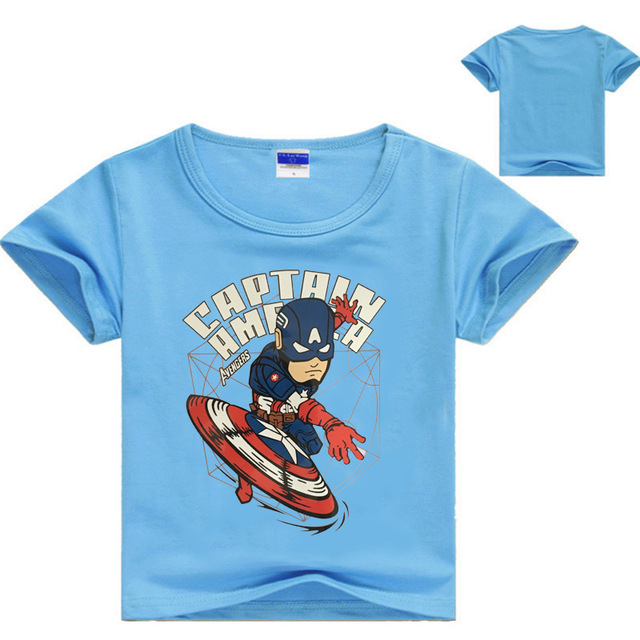 ZY Kids Clothes Summer 2017 Boys Shirts Baby Boy First Birthday Captain America T Shirt Legoes Clothing Apparel NO7166