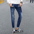 2016 spring and summer new men's jeans pants Korean style influx blue casual trousers cool stretch man pants