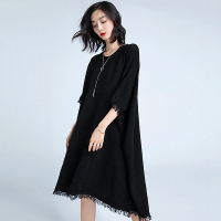 Knitted Dress Women Viscose Blends Solid Elastic Fabric O Neck Batwing Half Sleeve Loose Dress New Fashion Style Autumn 2018