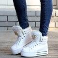 2016 зима плюс бархат мягкой обуви женщины высокий верх платформа женские ботинки снега повседневная обувь со стразами череп