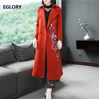 xxl!Top Quality Brand New Plus Size Winter Wool Coat Women Vintage Embroidery Single Breasted Wool Overcoats Outerwear Orange