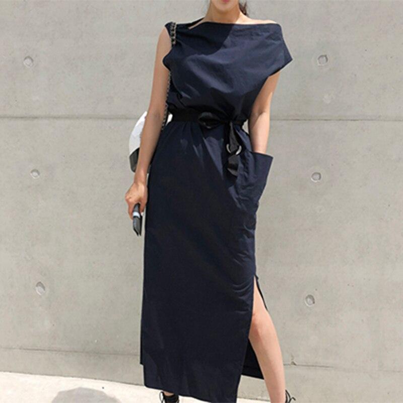 CHICEVER Summer Dresses For Women Sexy Slash Neck Hem Split Big Pocket Waist Lace Up Slim Dress Female Korean Fashion Tide New 3