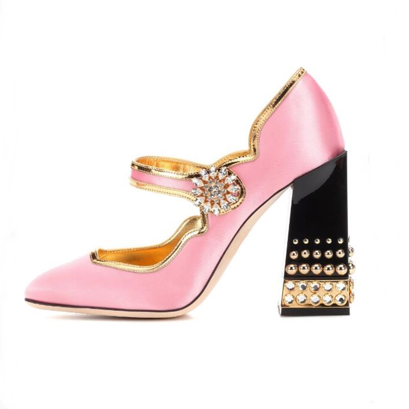 2018 Shoes Woman Heels Retro Crystal Flower High Pumps Women Thick Heel Shoes Round Toe Rivets Studded Shoes Spring Autumn